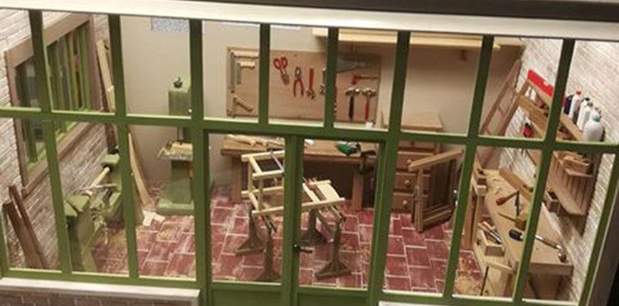 Photo d'un atelier de menuisier au 1/12ème réalisé par Alain Malatesta